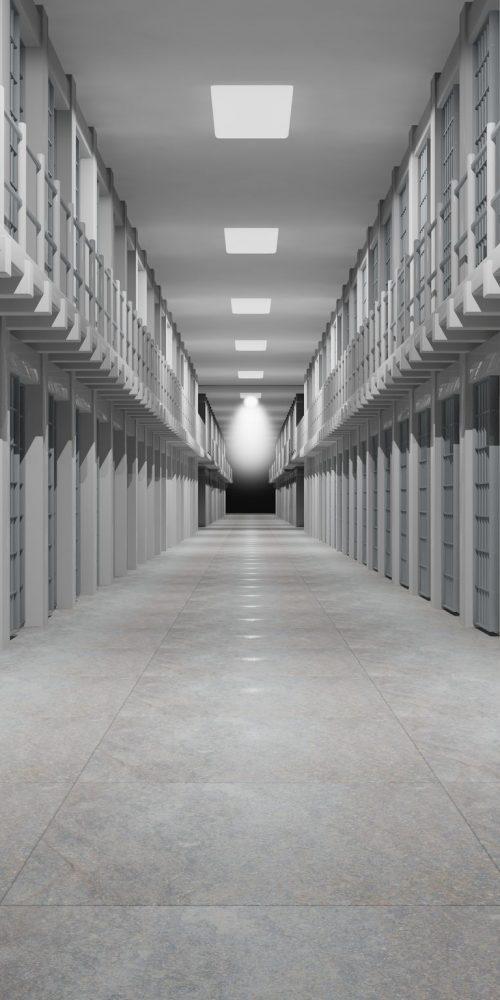 Rows of prison cells, prison interior