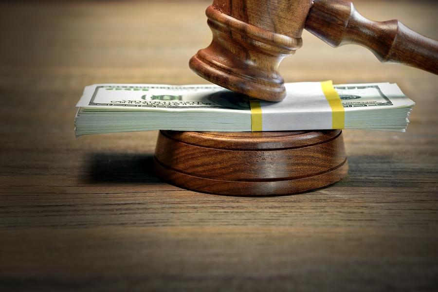 Judges or Auctioneer Gavel Soundboard And Bundle Of Dollar Cash On The Rough Wooden Table. Idea For Corruption Bankruptcy Court Bail Business And Financial Crime Bribing Fraud Auction Bidding